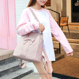 Elegant Pink Bow-knot Soft Leather Multi-function Shoulder Bag Student Backpack For Big Sale!- Fowish.com