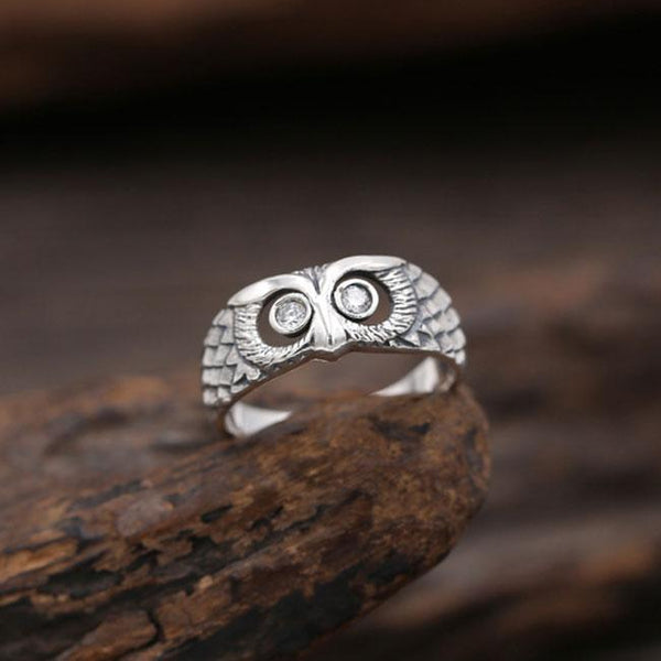 Retro Silver Animal Ring Creative Diamond Owl Open Ring For Big Sale!- Fowish.com