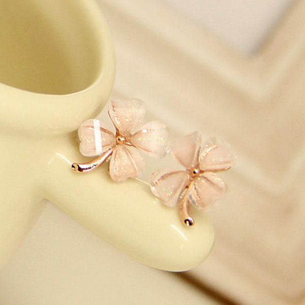 Fashion Wild Four Leaf Grass Personality Trend Silver Flower Earring Studs For Big Sale!- Fowish.com