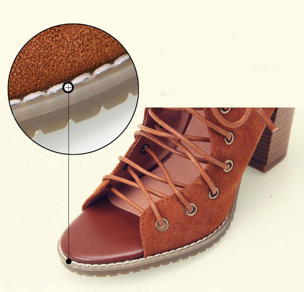 vintage Summer Thick With Roman Sandals Bandage High-heels Leather Shoes For Big Sale!- Fowish.com