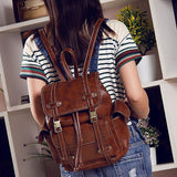 Retro Brown Three Pockets Two Belts School Bag Travel  England Style Backpack For Big Sale!- Fowish.com