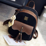 Retro Tassel Suede Flounce School Lady Student Brown Girl's Backpack For Big Sale!- Fowish.com