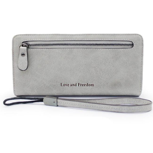 Retro PU Love Freedom Letters Zipper Purse Cellphone  Girl's Square Wallet Clutch Bag For Big Sale!- Fowish.com