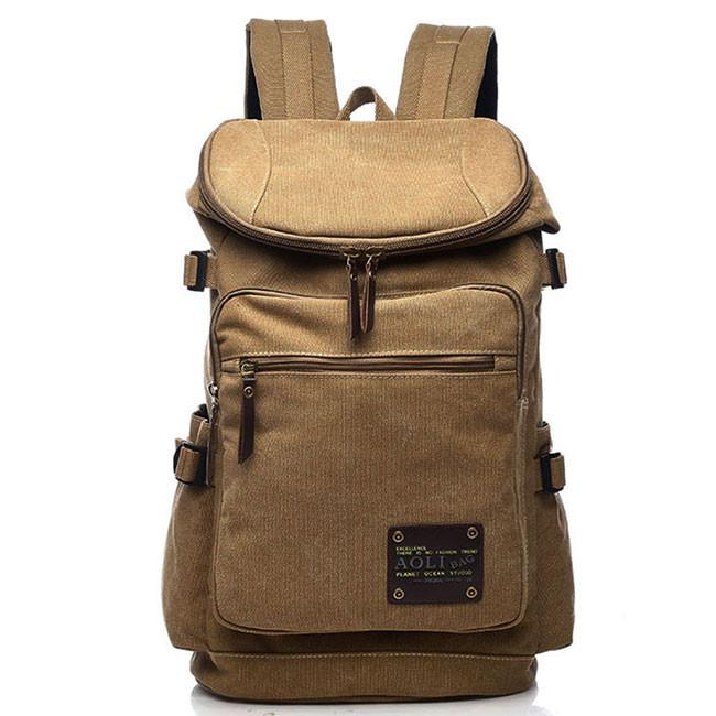 Retro Zipper Men's Canvas Travel Backpack Large Capacity Camping Bag School Laptop Backpack For Big Sale!- Fowish.com