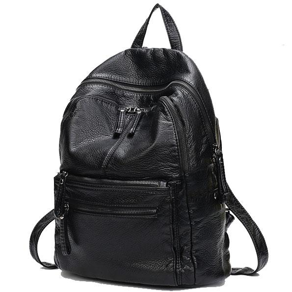 Punk Lichee Waterproof School Bag College Double Zipper Black PU Travel Backpack For Big Sale!- Fowish.com