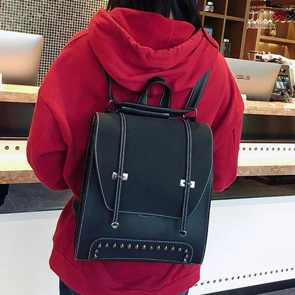Retro Flap Metal Lock Rivets School Backpack Square Girl's PU Frosted College Backpack For Big Sale!- Fowish.com