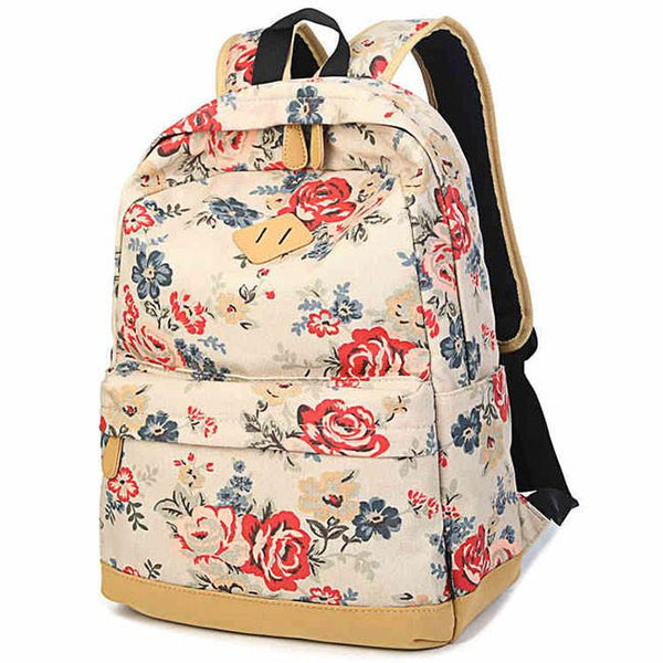 Fashion Large Capacity Travel Backpack Girl's Canvas Printing Rose Flowers School Backpacks For Big Sale!- Fowish.com
