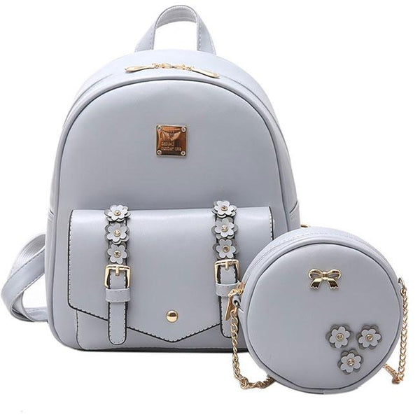Lovely Girl's Small Stereo Flowers Bag Gift Circular Mini Shoulder Bag Pink PU School Backpack For Big Sale!- Fowish.com