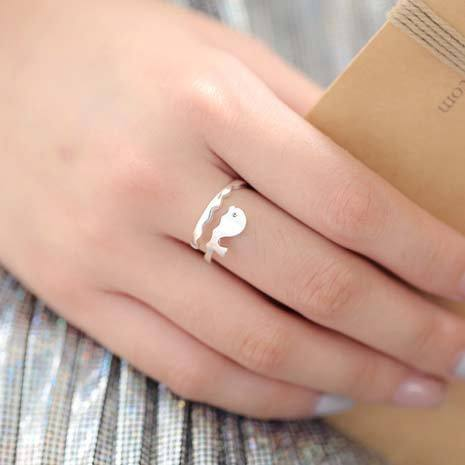 Cute Frosted Ocean Style Vivid Whale Wave Open Ring  Dolphin Silver Ring For Big Sale!- Fowish.com