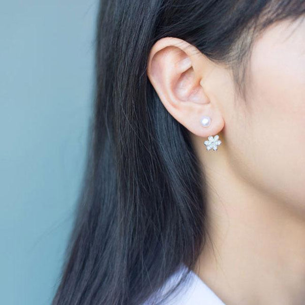 Lovely Pearl Drop Flower Silver Earrings Studs For Big Sale!- Fowish.com