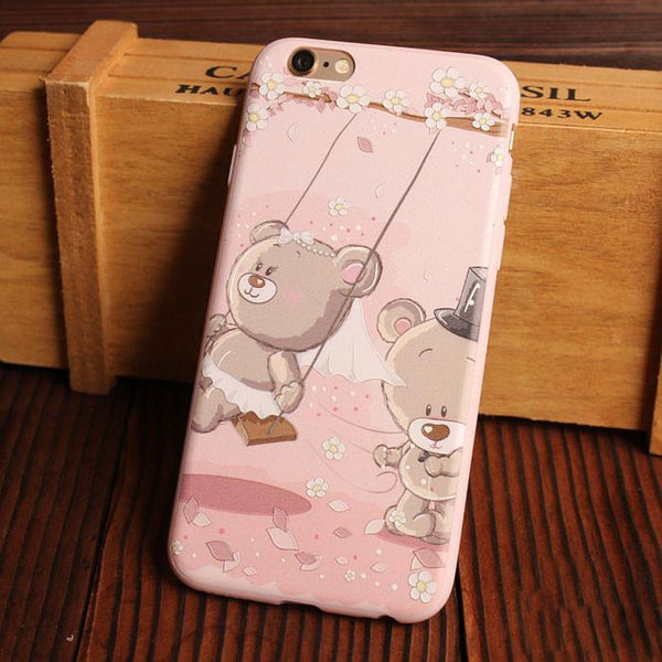 Cute Bear Cat Happy Glasses Boy Relief Silicone Soft Iphone Cases For 6/6Plus - lilyby