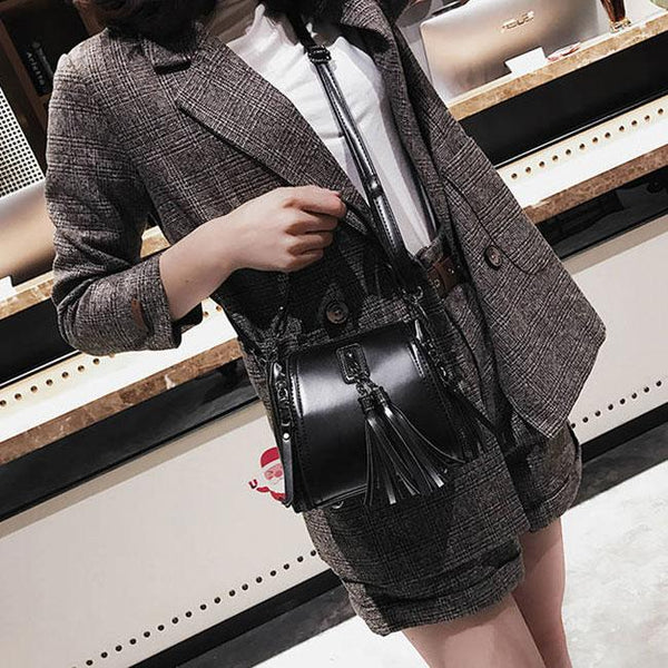 Retro Tassel Simple Glossy Fringed Handbag Lady Shoulder Bag For Big Sale!- Fowish.com
