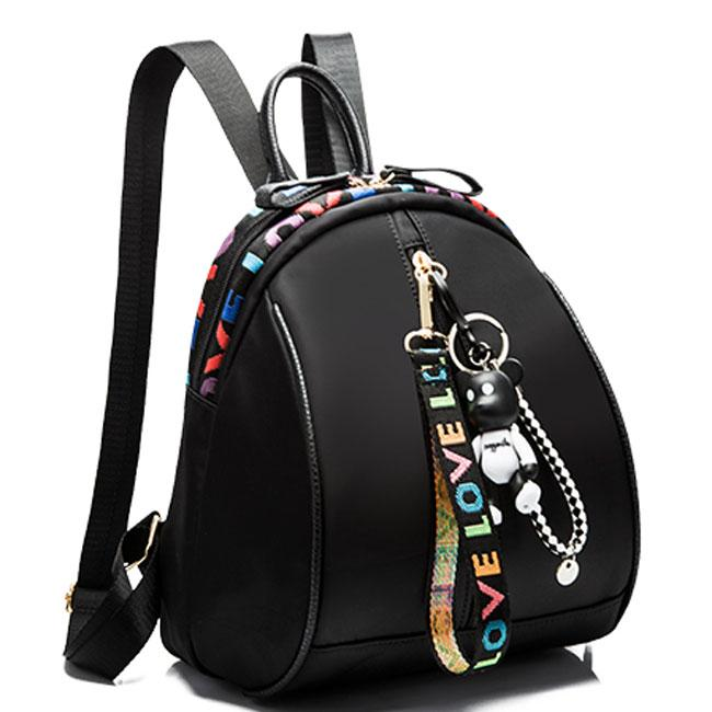 Fashion Pure Color Bear Decor Girls Black Oxford Backpack For Big Sale!- Fowish.com