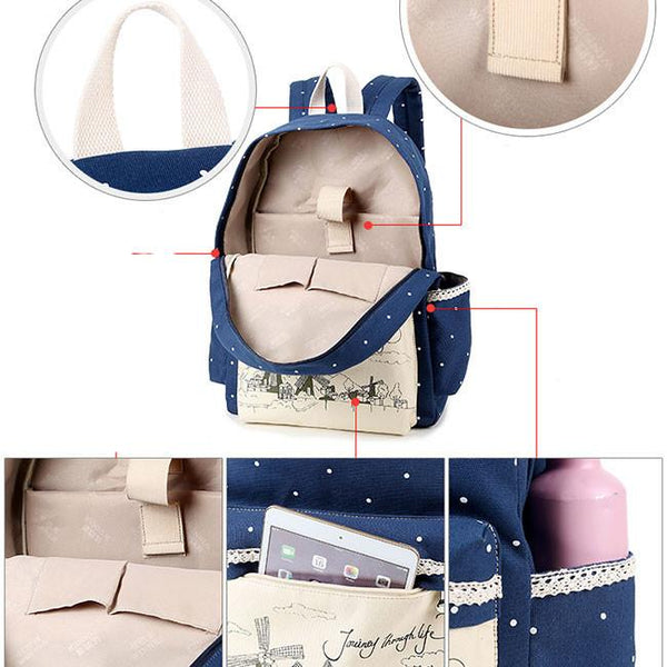 Sweet Lace Canvas Dot School Backpack Wave Point Printing Windmills Travel Rucksack For Big Sale!- Fowish.com