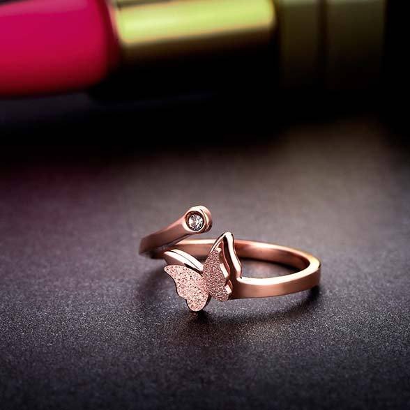 Cute Vivid Double Layer Frosted Butterfly Animal Rose Gold Girl's Open Ring For Big Sale!- Fowish.com