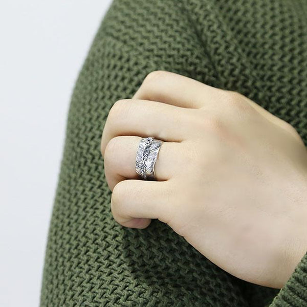 Retro Handmade Silver Feather Open Lenient Ring For Big Sale!- Fowish.com