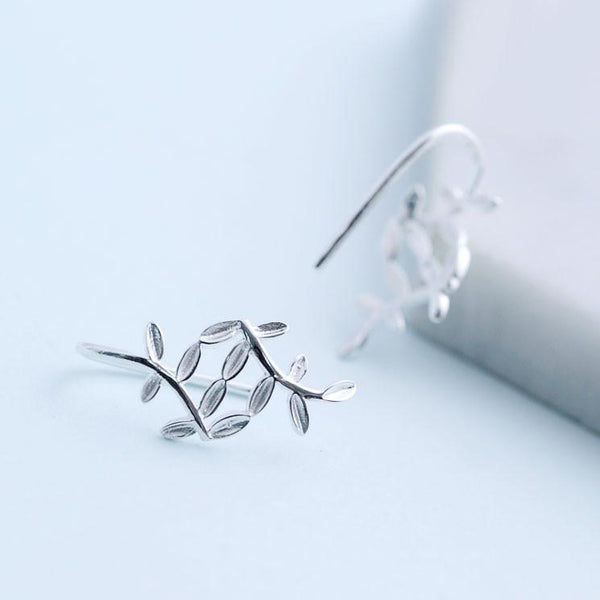 Fresh Leaves Cute Silver Leaf Drop Earrings For Big Sale!- Fowish.com