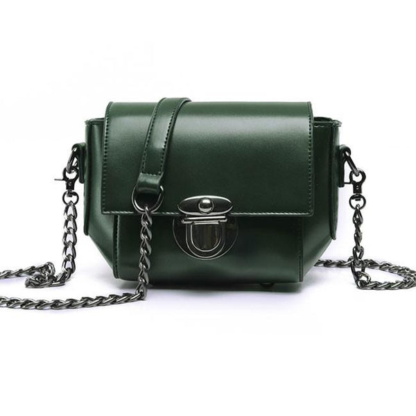 Retro Waxy Feel PU Metallic Lock Chain Flap Mini Leisure Women Shoulder Bags For Big Sale!- Fowish.com