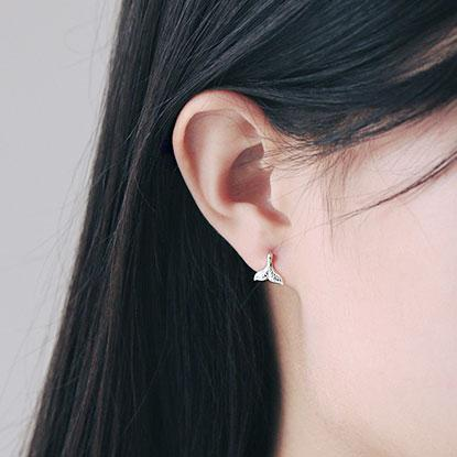 Unique Handmade 925 Silver Mermaid Fish Tail Womens Earring Studs For Big Sale!- Fowish.com