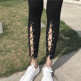 Black Front Cut Out High Slit Lace-up Ninth Girl's Skinny Legging For Big Sale!- Fowish.com