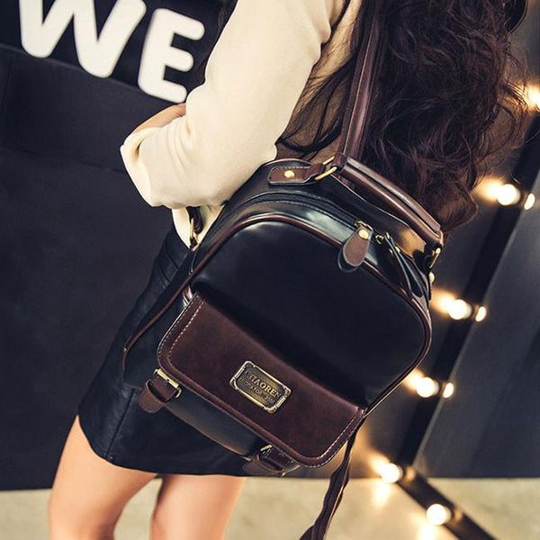 Vintage Travel PU School Backpack Retro Imitation Leather Grain Student Backpacks For Big Sale!- Fowish.com