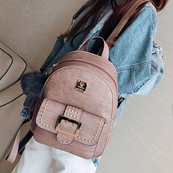 Retro Rivets Girl's PU Cartoon Metal Button School Backpack College Bag For Big Sale!- Fowish.com
