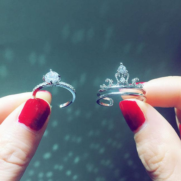 Shining Crown Design Adjustable Silver Diamond Women Double Ring For Big Sale!- Fowish.com