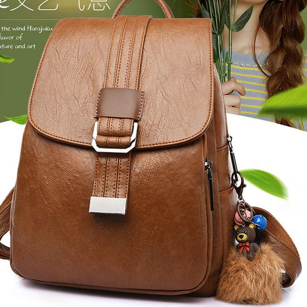 Retro Soft PU Student College Simple Single Button Backpack For Big Sale!- Fowish.com