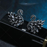 Fashion Black White Swans Animal Zircon Earrings Studs For Big Sale!- Fowish.com