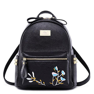 Leisure PU Embroidery Rivet Black White Flower Mini Soft School Backpack For Big Sale!- Fowish.com