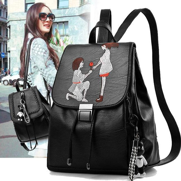 Romantic Girl's Draw String Flap PU Black Embroidery Cartoon Lovers School Backpack For Big Sale!- Fowish.com