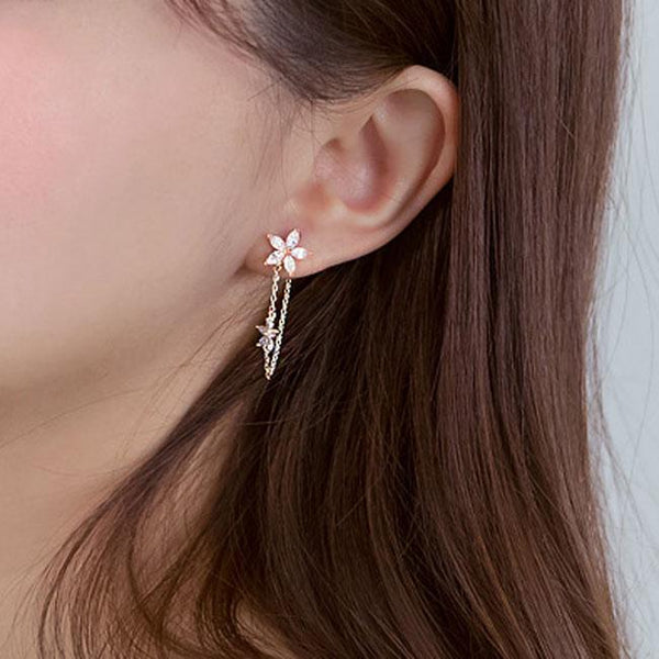 Fashion 925 Sterling Silver Flower Threader Tassel Chain Earring Studs For Big Sale!- Fowish.com