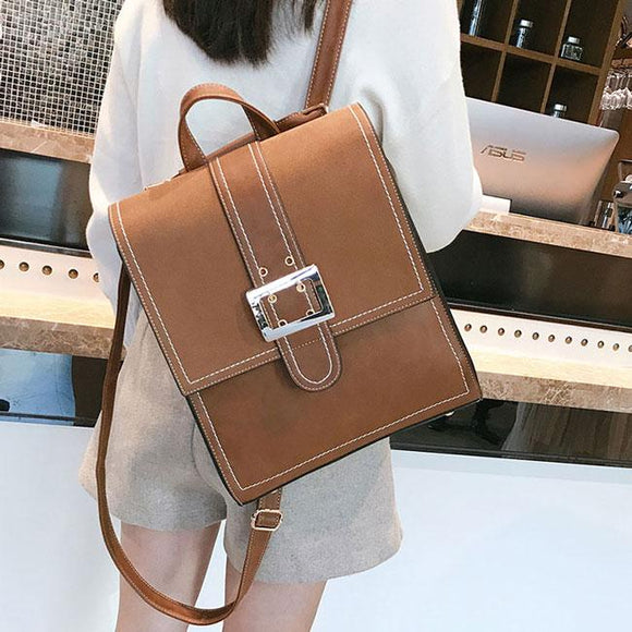 Retro Multi-function Shoulder Bag Brown Single Button British PU Leather Square Backpack For Big Sale!- Fowish.com