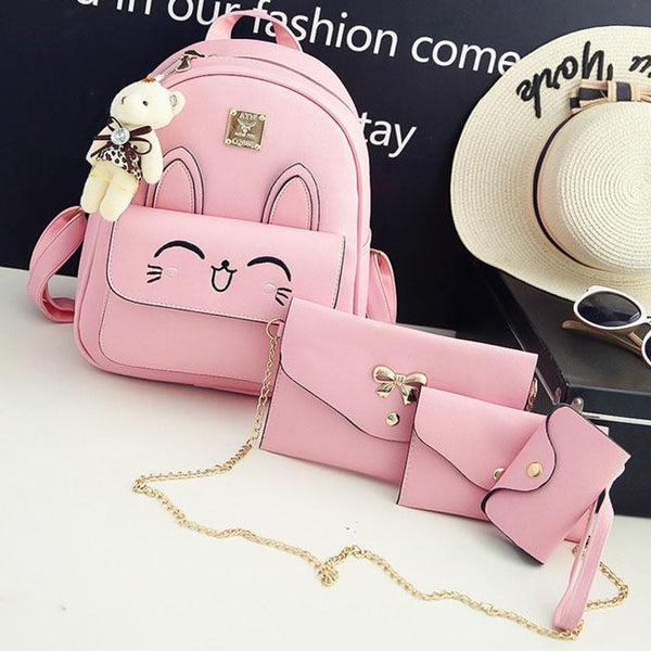 Cartoon Girls PU Embroidered Rabbit Face Backpack Stereo Rabbit Ears  Animal School Backpack For Big Sale!- Fowish.com