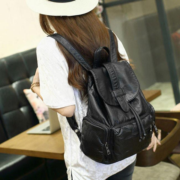 Leisure Soft Black Leather Women Travel Bag Simple College Backpack - lilyby