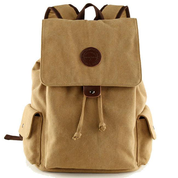 Retro Canvas Flap Drawstring School Backpack Large Men's Khaki Travel Backpack For Big Sale!- Fowish.com