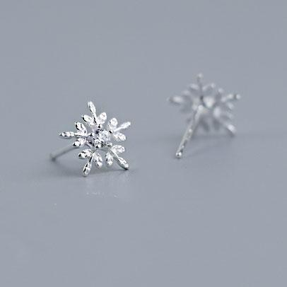 Pure Snowflake Crystal Mini Shining Christmas Style Girl's Silver Earring Studs For Big Sale!- Fowish.com