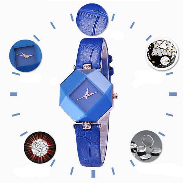 Elegant Geometric Shapes Incised Crystals Embedded Strap Bracelet Quartz Lady Watch For Big Sale!- Fowish.com