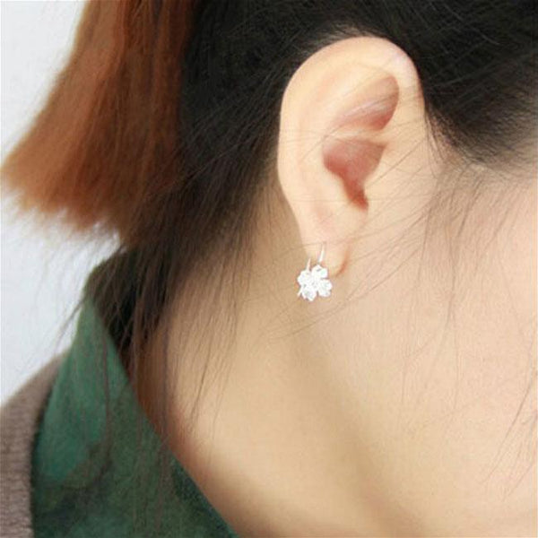 Unique Handmade Silver Flowers Hook Lady's Hook Earrings Studs For Big Sale!- Fowish.com