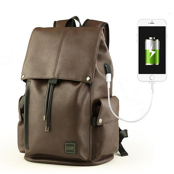 Cool Men's PU Leather Draw String Large School Bag USB Interface Capacity Flap Hiking Backpack For Big Sale!- Fowish.com