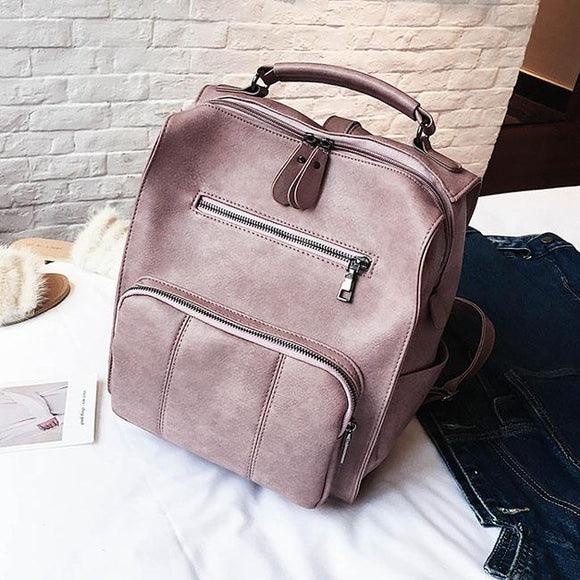 Retro Multifunction Handbag Pure Color Travel College Student Backpack For Big Sale!- Fowish.com