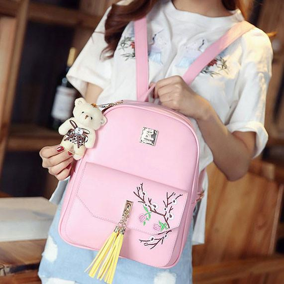 Cute PU Girl's Bow College Bag Peach Blossom Embroidery Tassels Flower School Backpack For Big Sale!- Fowish.com