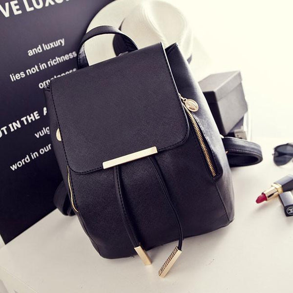 Fashion Black Solid Simple Square PU Drawstring Hasp Satchel Backpack For Big Sale!- Fowish.com
