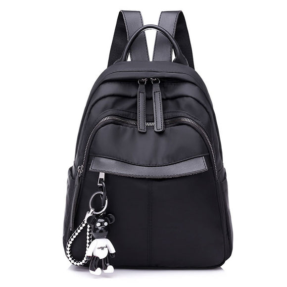 Fashion Waterproof Black PU Nylon School Bag Student Backpack af7a5c06a3ecb