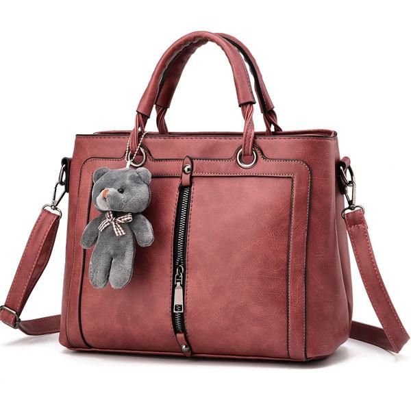 Retro Solid Color Zipper Shoulder Messenger Bag Bear Handbag - lilyby