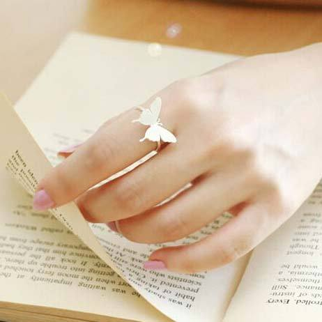 Cute Brushed Simple Girl's Frosted Vivid Butterfly Silver Animal Open Ring For Big Sale!- Fowish.com