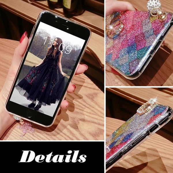 Fashion Shining Luxurious Diamond-bordered Colorful Tassels Iphone 7/7 plus/8/8 plus Case For Big Sale!- Fowish.com