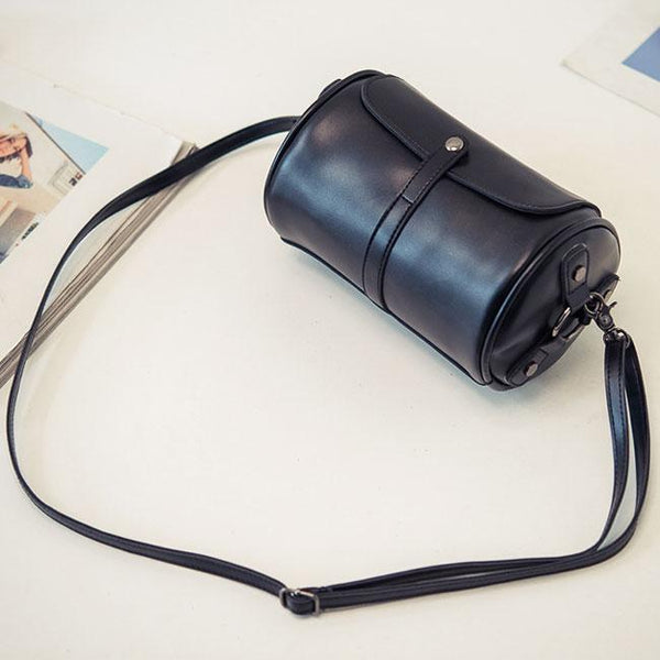 Retro Cylinder PU Rivets Simple School Style Flap Zipper Girl's Shoulder Bag For Big Sale!- Fowish.com
