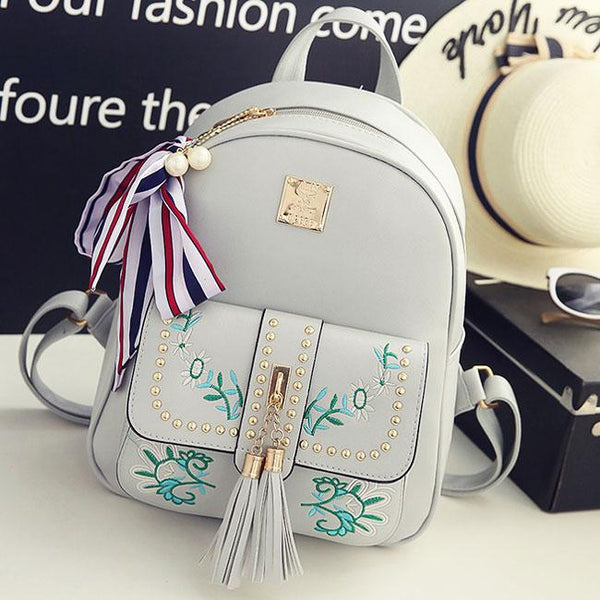 Sweet PU Flowers Leaves Embroidery Tassel Rivets Girl's School Backpack For Big Sale!- Fowish.com