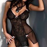 Sexy Lace Embroidery Bow Halter High Side Slit Lace Backless Women's See Through Splicing Lingerie For Big Sale!- Fowish.com